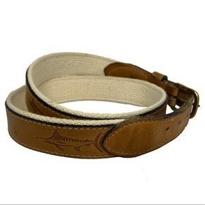 Reef Riders Swordfish Leather and Canvas Belt